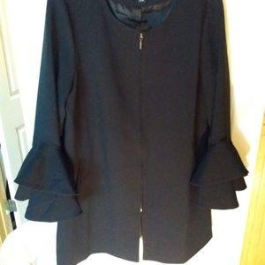 Black Bell Sleeved Long Blazer